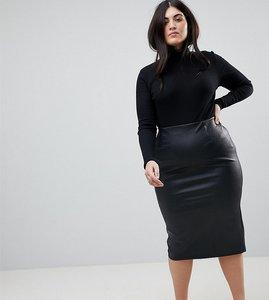Read more about Asos design curve sculpt me leather look midi skirt - black