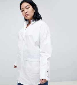 Read more about Asos white curve oversized shirt with contrast stitching - white
