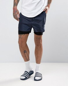 Read more about Asos woven short with jersey underlayer - navy