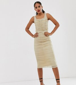 Read more about Tfnc tall shimmer mesh ruched midi dress in light gold