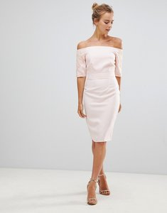 Read more about Little mistress pencil dress with lace sleeves - light pink