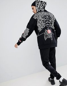 Read more about Sixth june hoodie in black with back sleeve print - black