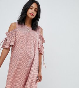 Read more about Glamorous bloom cold shoulder smock dress in check - orange check