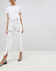 Read more about Glamorous ripped skinny jeans with zip detail - bleach