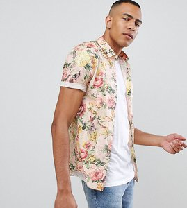 Read more about Asos design tall skinny floral printed shirt in off white - white