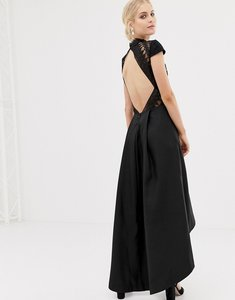 Read more about Chi chi london high low midi dress with open back in black