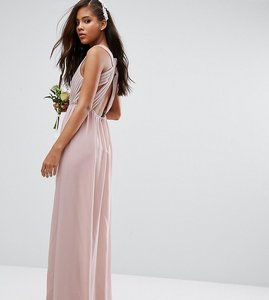 Read more about Tfnc tall wedding pleated maxi dress with open back detail