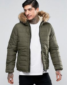 Read more about Schott quilted padded hooded jacket detachable faux fur trim - khaki