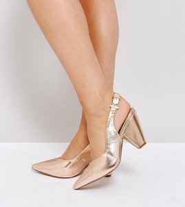 Read more about Asos sandcastle wide fit slingback pointed heels - nude metallic