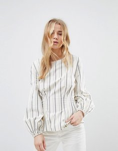 Read more about New look stripe cotton puff sleeve top - white pattern