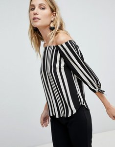Read more about Oasis stripe bardot top - black and white