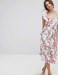 Read more about Oasis floral printed ruffle tea dress - multi