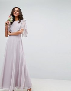 Read more about Asos wedding delicate lace applique maxi dress - dusty lilac