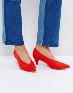 Read more about Asos strike mid heels - red
