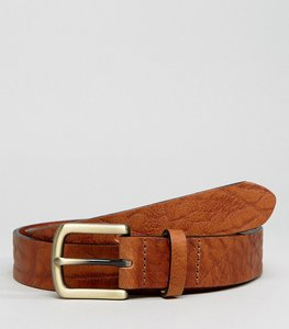 Read more about Asos leather slim belt in brown with vintage look and burnished buckle - brown