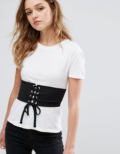 Read more about Pull bear corset detail t-shirt - white