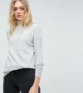 Read more about Noisy may tall roll neck jumper with stepped hem - light grey melange
