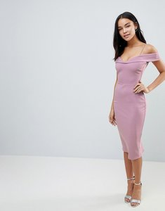Read more about Asos scuba strappy bardot pencil midi dress - dusky nude