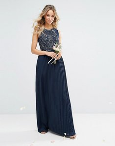 Read more about Maya high neck maxi dress with tonal embellishment and pleated skirt - navy