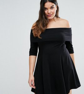 Read more about Asos curve deep bardot mini skater dress with 3 4 length sleeve - black
