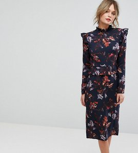 Read more about Hope ivy long sleeve floral printed dress with frill detail - multi navy