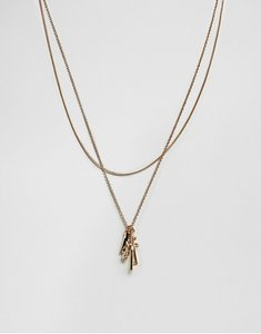 Read more about Asos mixed charm multirow necklace - gold