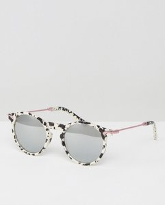 Read more about Asos round sunglasses with metal arms and mirror lens in 90s mono marble - black