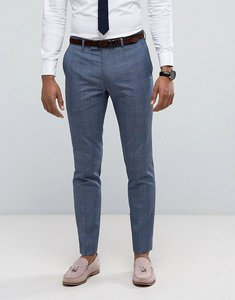 Read more about Farah skinny suit trousers in prince of wales check - blue