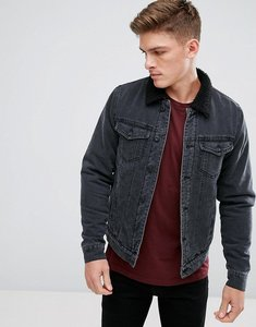 Read more about Only sons denim jacket with borg collar - black