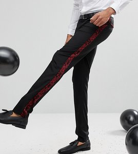 Read more about Asos tall skinny tuxedo suit trousers in red paisley velvet - black