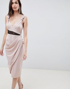 Read more about Asos design satin midi dress with contrast lingerie lace inserts - champagne