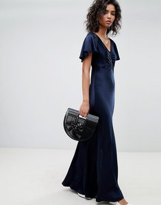Read more about Ghost fluted capped sleeve satin maxi dress with ruched detail - navy