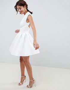 Read more about Asos design scuba seamed open back mini prom dress - ivory