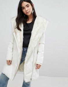 Read more about New look faux fur shawl padded coat - cream