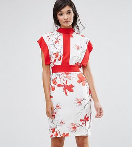 Read more about Closet london printed midi dress with contrast panel and tie back - multi