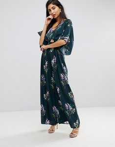 Read more about Asos jumpsuit with kimono sleeve and wide leg in print - multi