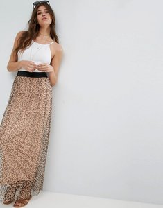 Read more about Asos mesh maxi skirt in animal print - multi