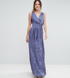 Read more about Little mistress tall wrap front strappy maxi dress - lavender grey