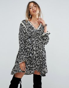 Read more about Free people disty print frill mini dress - black combo