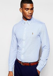 Read more about Polo ralph lauren oxford shirt in slim fit in pique - navy