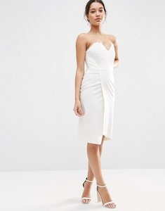 Read more about Asos asymmetric bandeau midi dress - white
