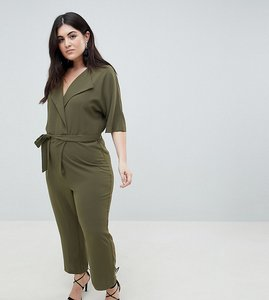 Read more about Asos design curve wrap jumpsuit with self belt - olive
