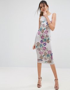 Read more about Asos placed floral strappy back pinny midi bodycon dress - multi