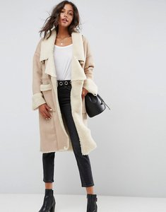 Read more about Asos waterfall bonded borg coat - mink