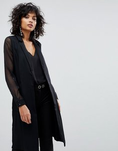 Read more about Y a s longline blazer with sheer sleeves - black
