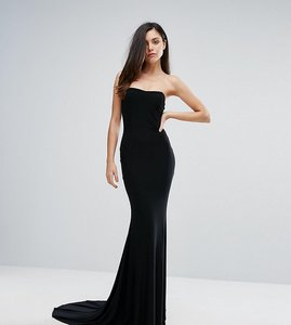 Read more about Club l bandeau fishtail maxi dress - black