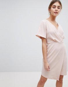 Read more about Closet london wrap front mini shift dress - nude
