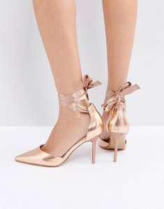 Read more about Coco wren tie ankle court shoe - rose gold