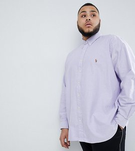 Read more about Polo ralph lauren big tall button down collar oxford shirt player logo in lilac - grape white