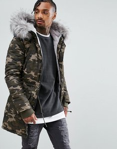 Read more about Sixth june parka jacket in camo with extreme faux fur hood - camo grey